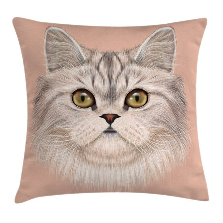 Cat Throw Pillow Cushion Cover, Cute Kitty Portrait Whiskers Best Pet Animal I Love My Feline Themed Artwork, Decorative Square Accent Pillow Case, 24 X 24 Inches, Beige Cream Peach, by Ambesonne