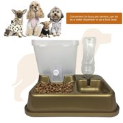NEW Automatic Pet Feeder Dogs Cats Food Bowl PP Plastic Non-toxic Food Water Dispenser Container Drinking Fountains Pet Supplies(Gold)