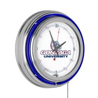 Gonzaga University Chrome Double Rung Neon Clock