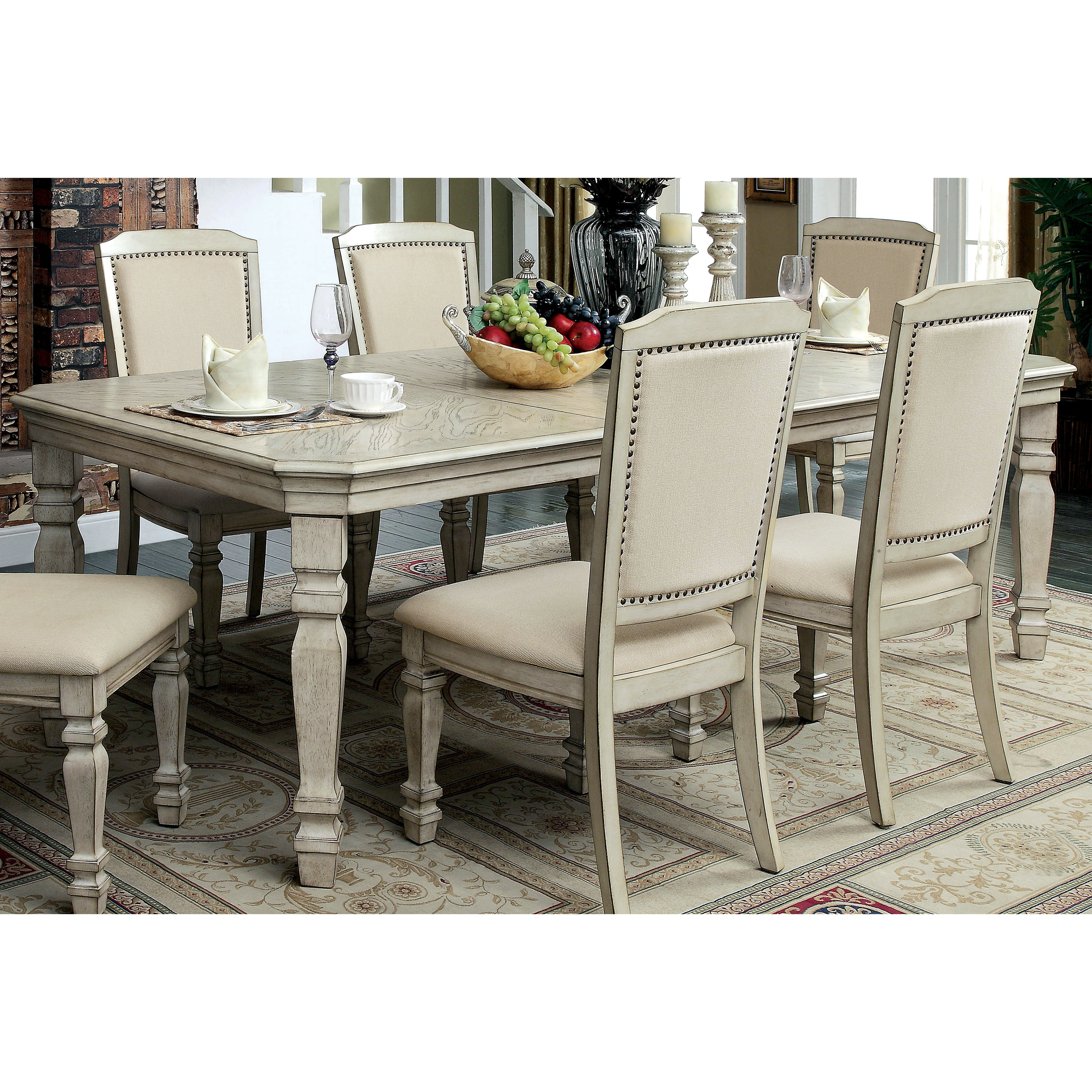 Furniture Of America Caplin Traditional Antique White Dining Table