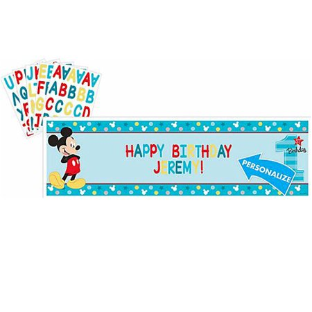 Mickey Mouse 1st Birthday 'Fun to Be One' Giant Customizable Banner (1ct) - Baby Mickey Mouse First Birthday