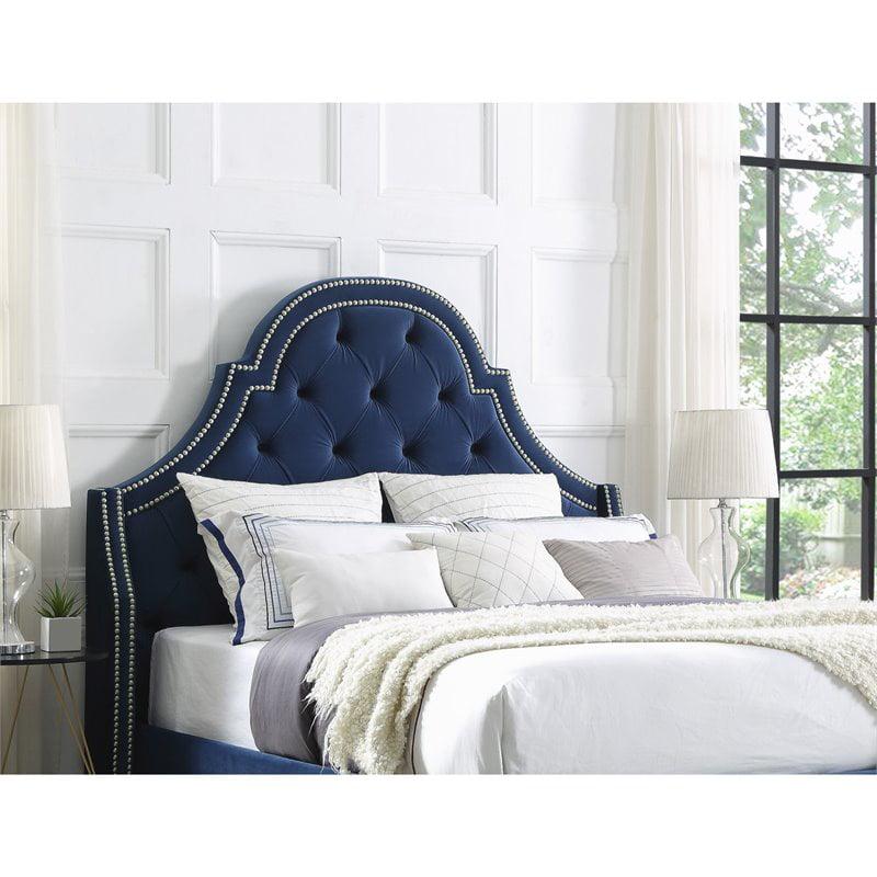 Aaron Navy Blue Velvet Tufted Headboard Queen Size