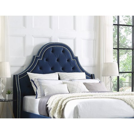 buy online 4b603 9b00f Aaron Navy Blue Velvet Tufted Headboard - Queen Size - Upholstered