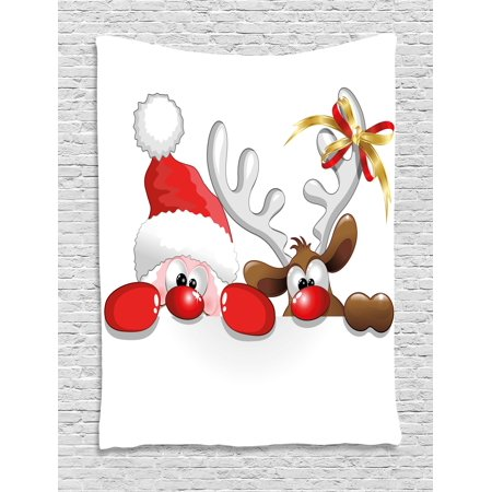 Claus Tapestry - Christmas Tapestry, Funny Christmas Santa Claus and Reindeer Peeking Cartoon Style Humor, Wall Hanging for Bedroom Living Room Dorm Decor, Vermilion Caramel White, by Ambesonne