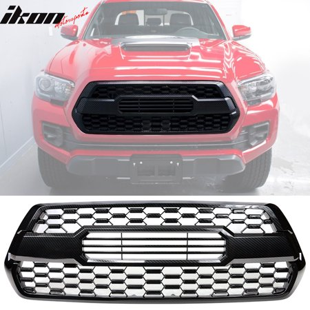 Compatible with 16-19 Toyota Tacoma  Front Hood Bumper Grille Mesh Insert Carbon Print ()