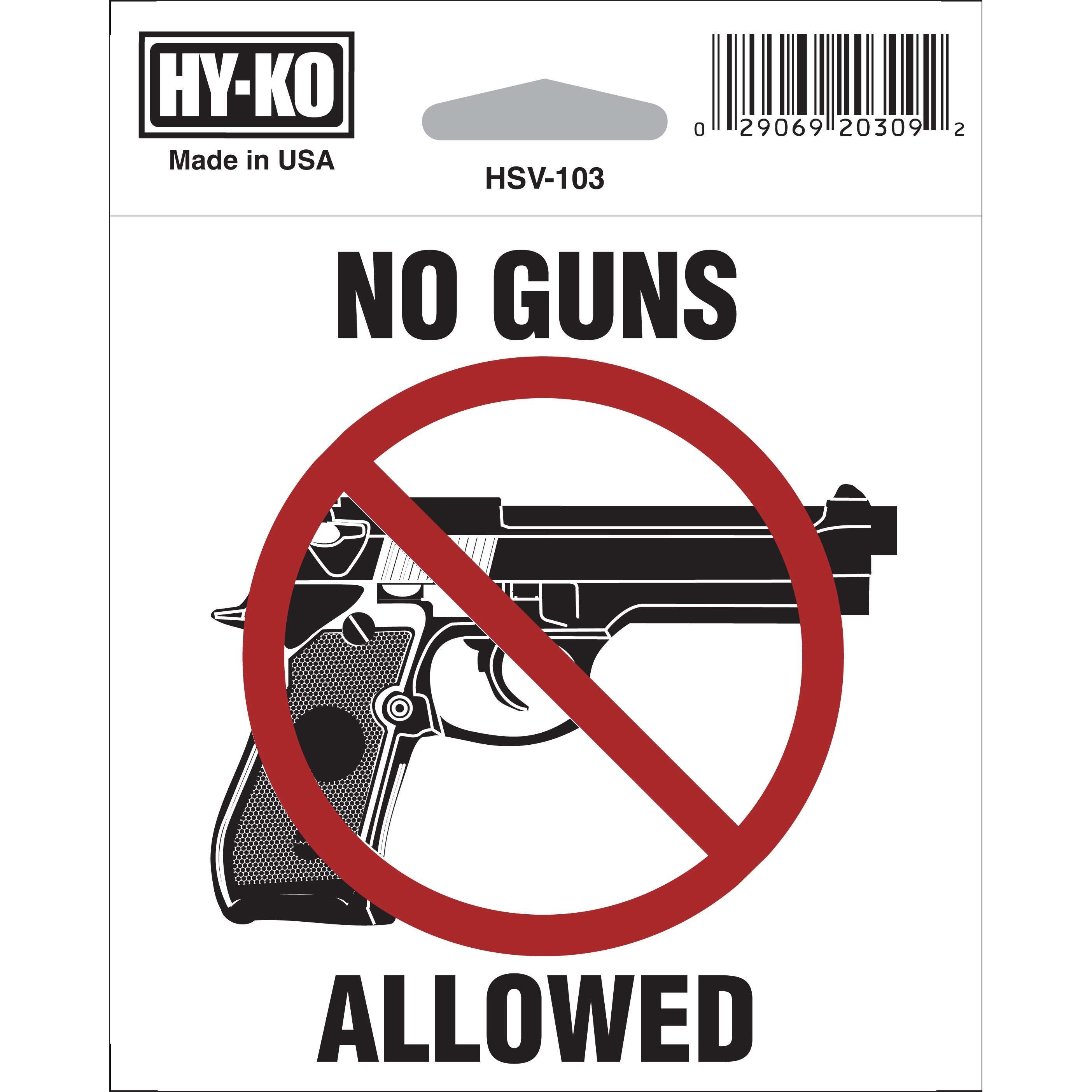 "Self Adhesive 4 x 4"" ""No Guns Allowed"" Vinyl Sign"