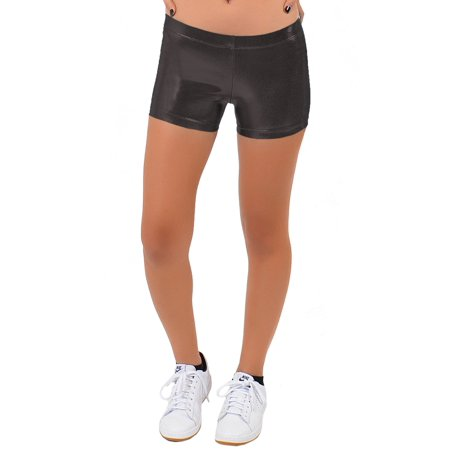 Girl's Mystique Metallic Booty Shorts - Large (10) / Mystique Black - Metallic Booty Shorts