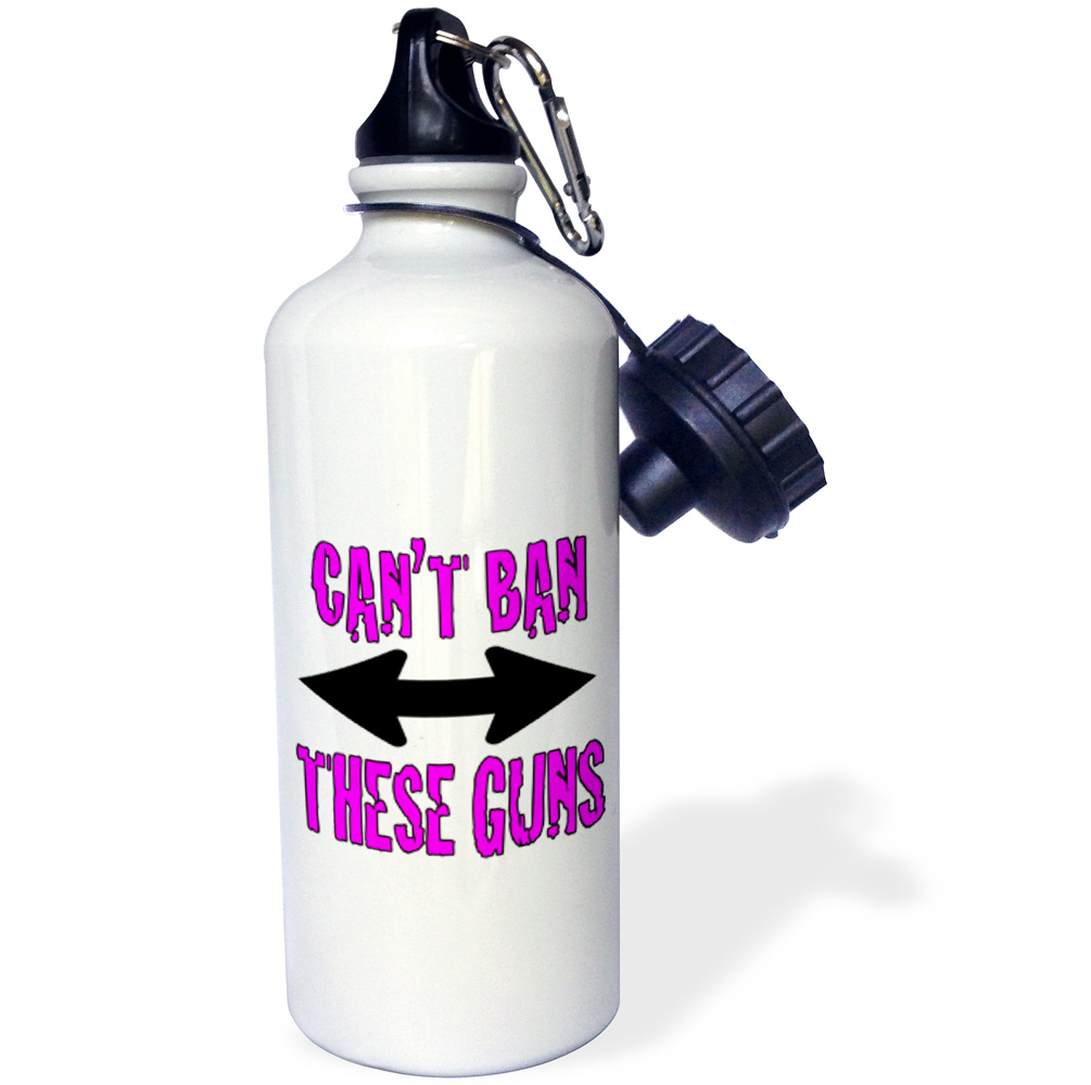 3dRose Cant ban these guns, Pink, Sports Water Bottle, 21oz