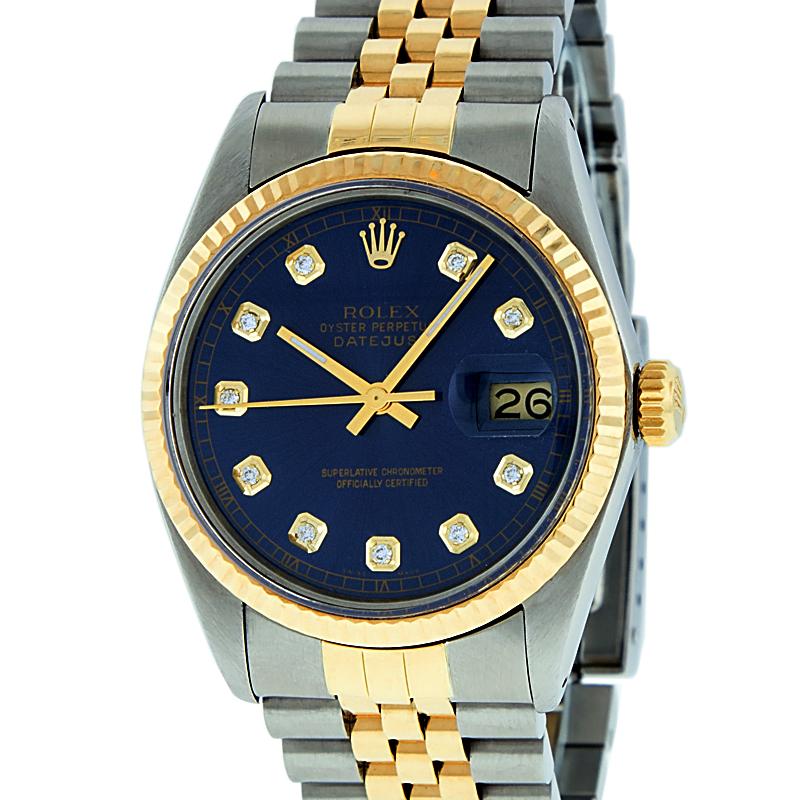 Used Rolex Mens Datejust Steel & 18K Yellow Gold Blue Diamond Watch 16013 Jubilee by