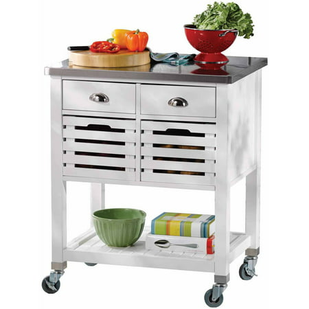 Linon Robbin Wood Kitchen Cart With Stainless Steel Top
