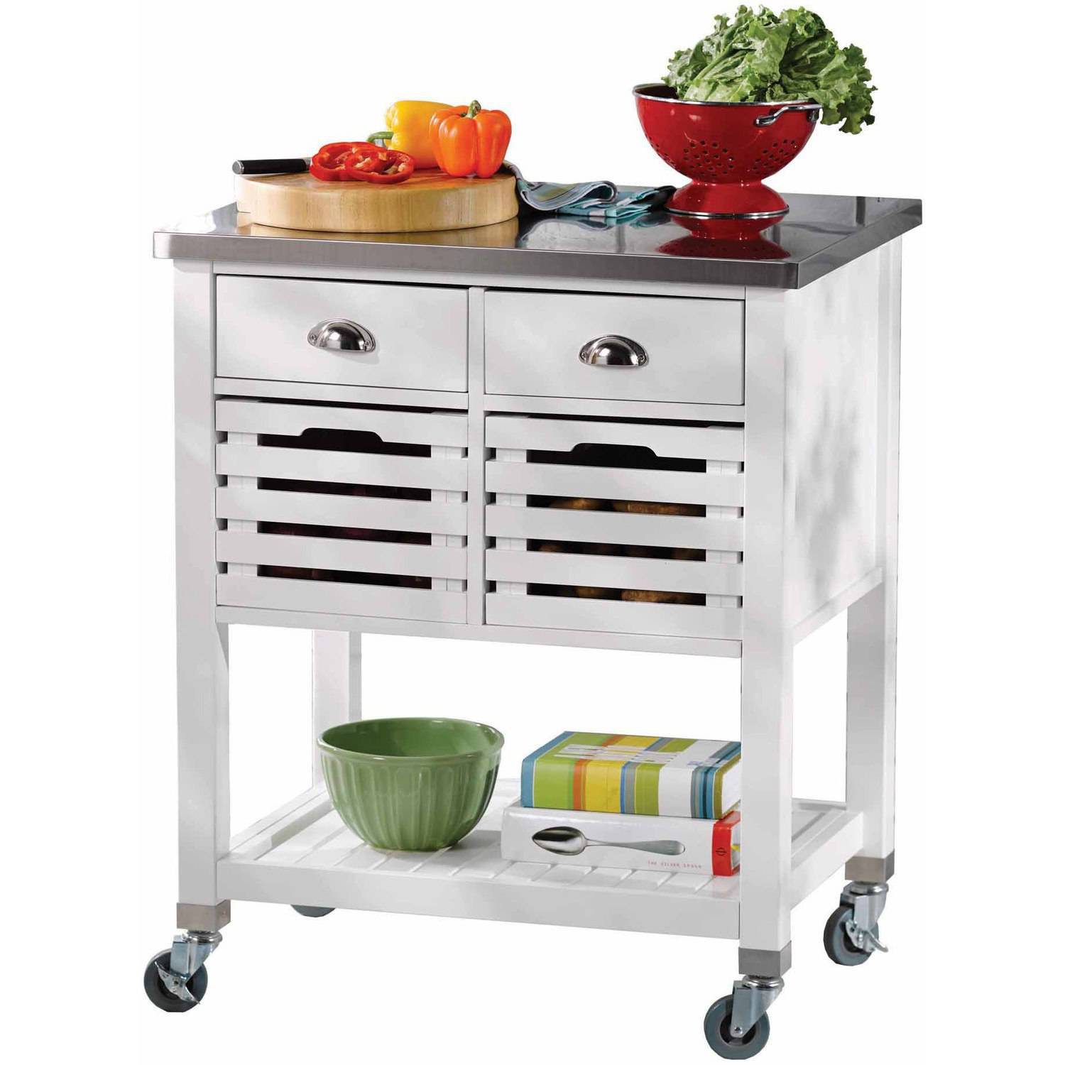 Linon Robbin Wood Kitchen Cart With Stainless Steel Top, 36 Inches Tall