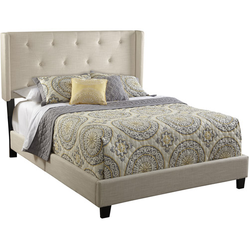 Home Meridian International All-N-1 Fully Upholstered Shelter Queen Bed, Stone
