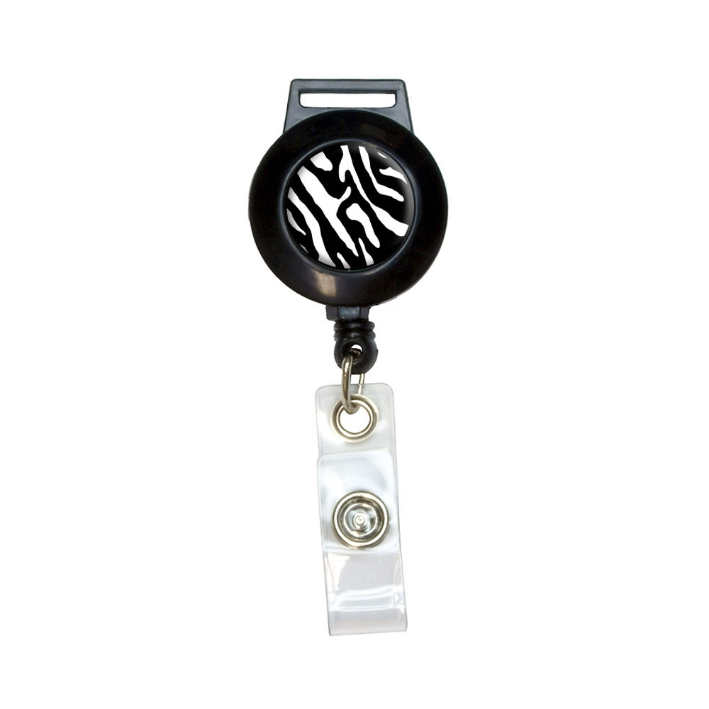 Zebra Print Black White Retractable Badge Card ID Holder