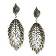 Dallas Prince Sterling Silver Marcasite Leaf Earrings