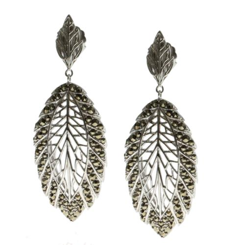 Dallas Prince Sterling Silver Marcasite Leaf Earrings