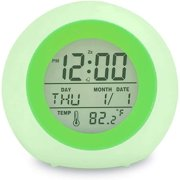 Kids Alarm Clock Easy Setting Digital Clock for Boys Girls, 7 Colors Changing LED Light Large Display Time/Date/Temp/Alarm with Snooze, Bedside Clock, Night Light Clock