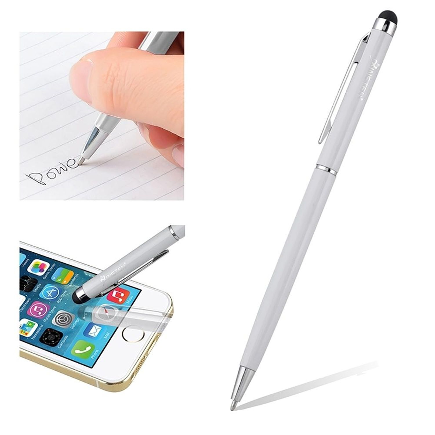 Insten Universal Silver 2in1 Capacitive Touch Screen Stylus with Ball Point Pen For Tab Tablet CellPhone iPhone 7 6 Plus 6s SE 5 5s iPad Air Pro Mini Samsung Galaxy J7 J5 J3 J1 Grand Prime Core On5