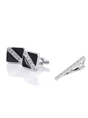 Men's Black Silver with 6 Rhinestones Cufflinks + Silver Angled Stripes Faceted Tie Clip