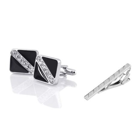Necktie Cufflinks (Men's Black Silver with 6 Rhinestones Cufflinks + Silver Angled Stripes Faceted Tie Clip)
