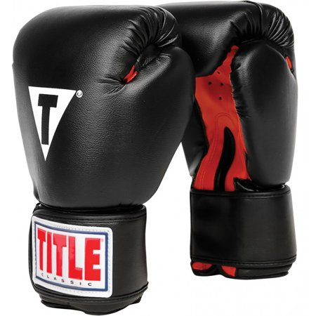 Hook And Loop Boxing Gloves (Title Boxing Classic Hook and Loop Vinyl Training Boxing Gloves - Black/Red)