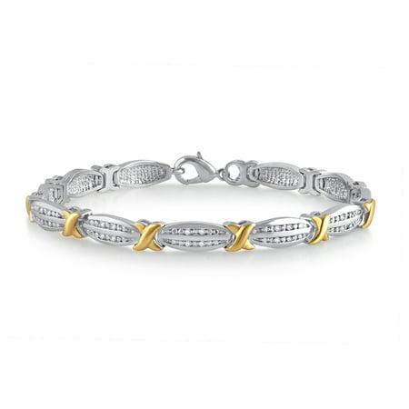 1/4 Cttw Rhodium Over Brass & 14kt Gold plated Fashion Bracelet, IJ, I3