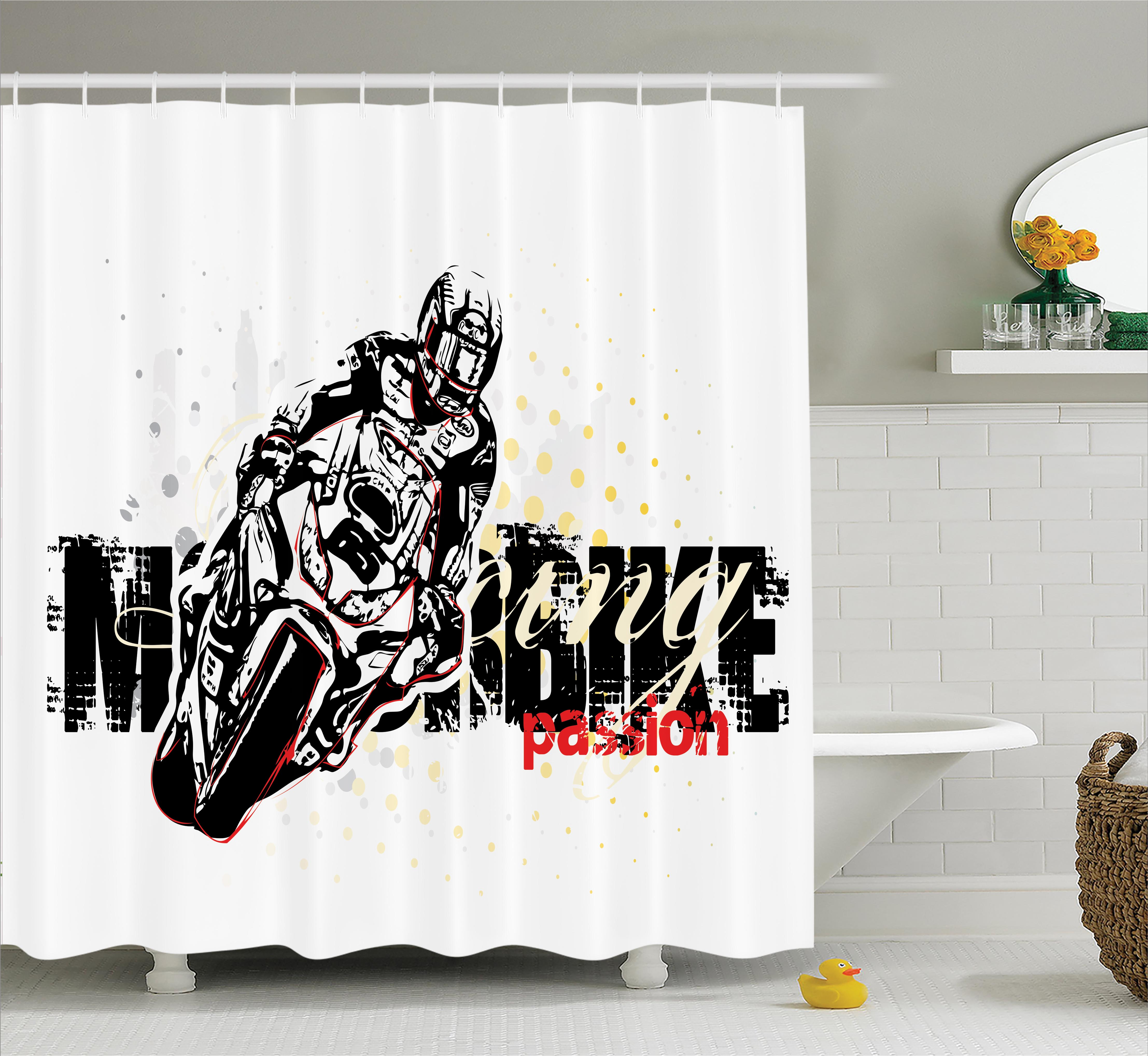 Motorcycle Shower Curtain Set, Motorbike Illustration On Doted Grungy  Background Super Bike Passion Silhouette, Bathroom Decor, Black Yellow, By  Ambesonne