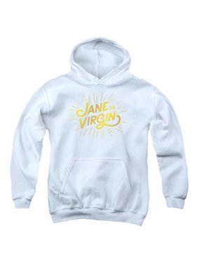 Trevco Jane The Virgin-Golden Logo - Youth Pull-Over Hoodie - White, Extra Large