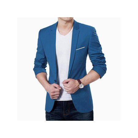 Cluxwal Men's Slim Fit Suits Casual One Button Blazer Solid Blazer Jacket for (3 Button Solid Suit)