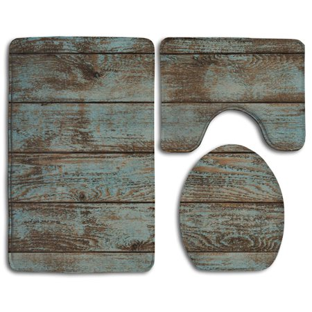EREHome Rustic Old Barn Wood 3 Piece Bathroom Rugs Set Bath Rug Contour Mat and Toilet Lid Cover - image 2 of 2