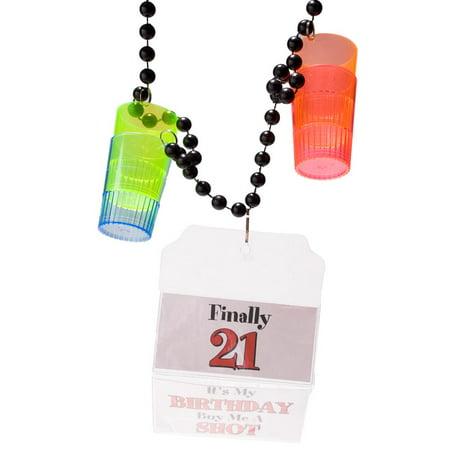 21st Birthday 1.5 oz. Shot Glass Party Beads
