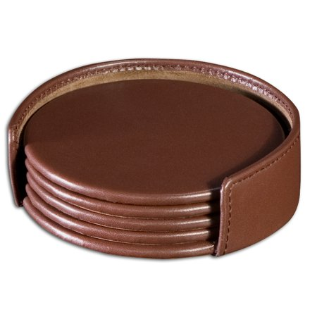 Coaster Chocolate - Chocolate BrownLeatherette 4 Coaster Set with Holder
