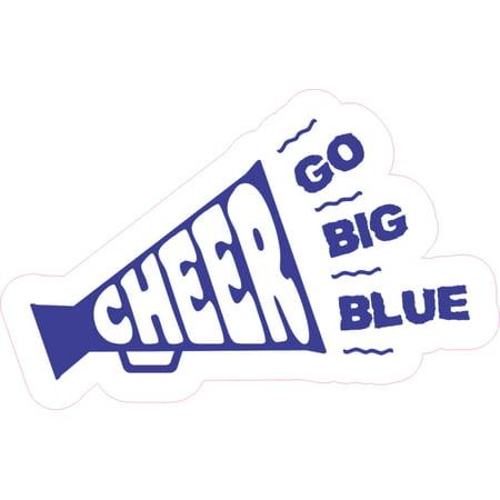 5in x 3in Megaphone Cheer Sticker Blue Vinyl School Cheerleading Stickers