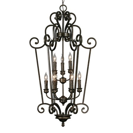 Golden Lighting 8063-CG9 BUS 9 Light Heartwood Caged Foyer Light, Burnt