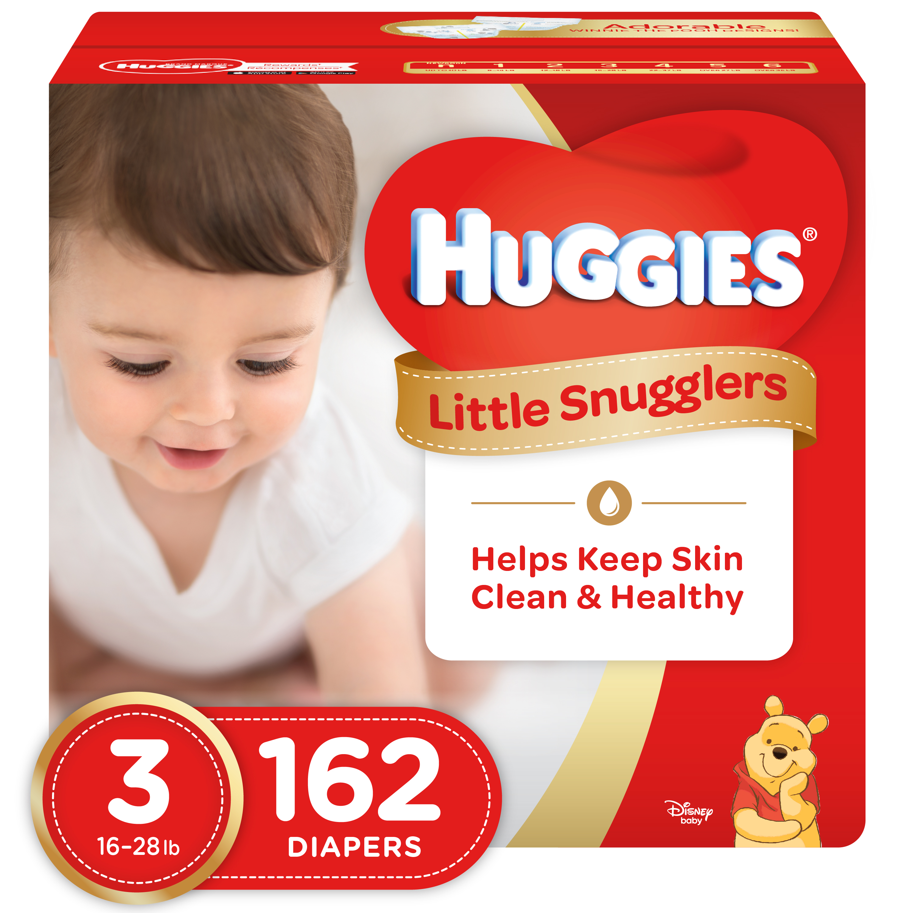 HUGGIES Little Snugglers Diapers (Choose Size and Count) Size 3, 162 Diapers