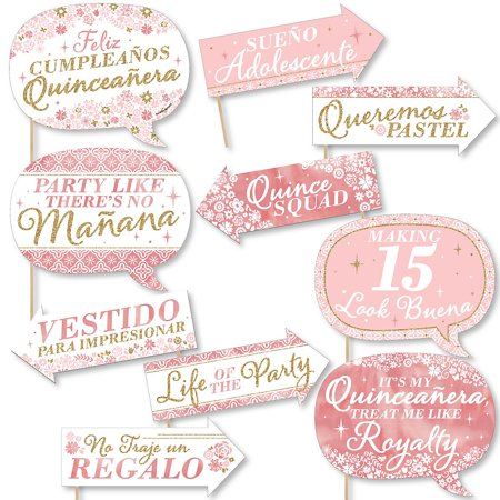 Funny Mis Quince Anos - Quinceanera Sweet 15 Birthday Party Photo Booth Props Kit - 10 Piece  - Under The Sea Quinceanera Ideas