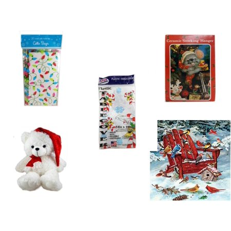 Christmas Fun Gift Bundle [5 Piece] - 2-Pk  Lights Cello Bags 20 Count - Vintage Designed Stocking Hanger Mouse - Party Expressions Plastic Table cover 54