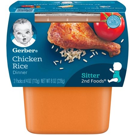 Gerber 2nd Foods Chicken & Rice Nutritious Dinner Baby Food, 4 oz. Tubs, 2 Count