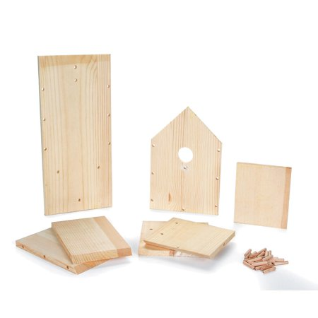 Wood Bird House Kit - 7.5 x 6.25 x 13.78 inches