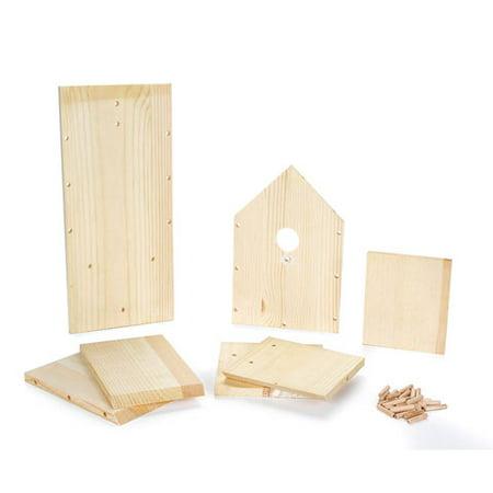 Wood Bird House Kit - 7.5 x 6.25 x 13.78 inches