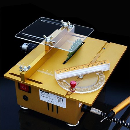 Multifunction 100W Mini Table Saw Handmade Woodworking Bench Lathe Electric Polisher Grinder Cutting Machine with Sliding Ruler - Complete