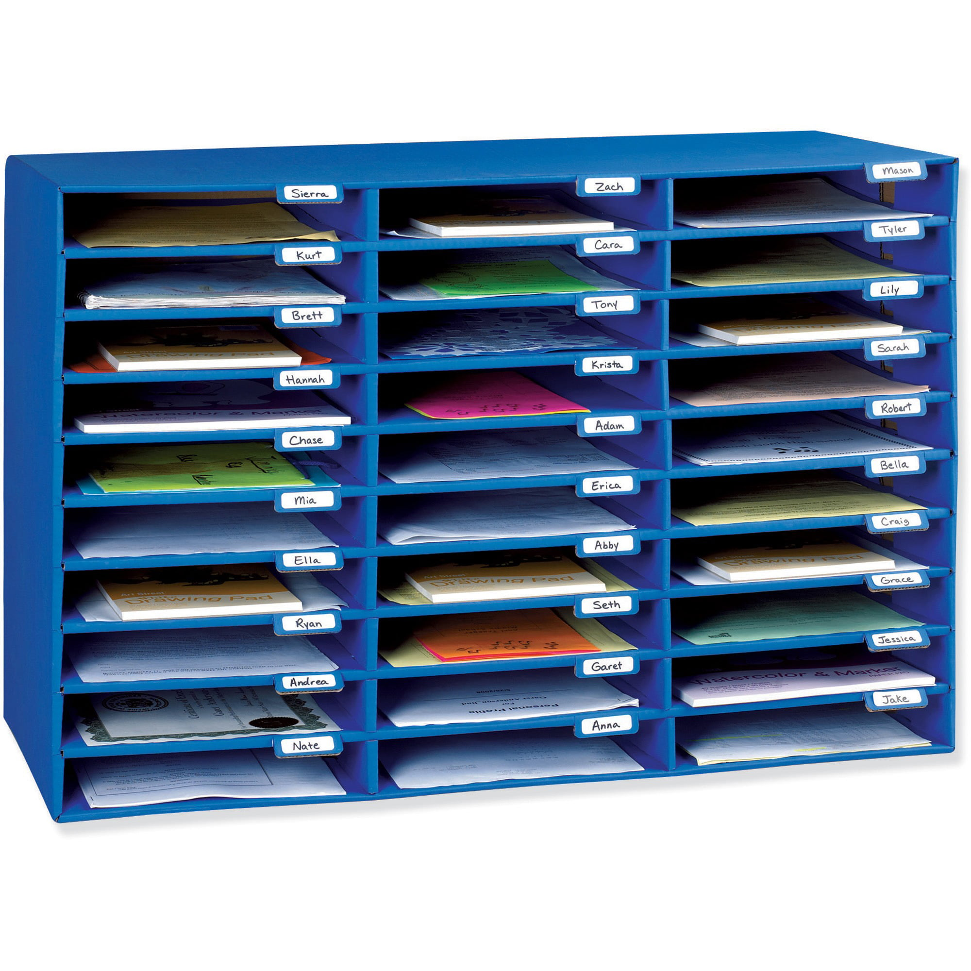 "Classroom Keepers 30 Slot Mailbox, Blue, 21""H x 31.63""W x 12.75""D Piece by Pacon"
