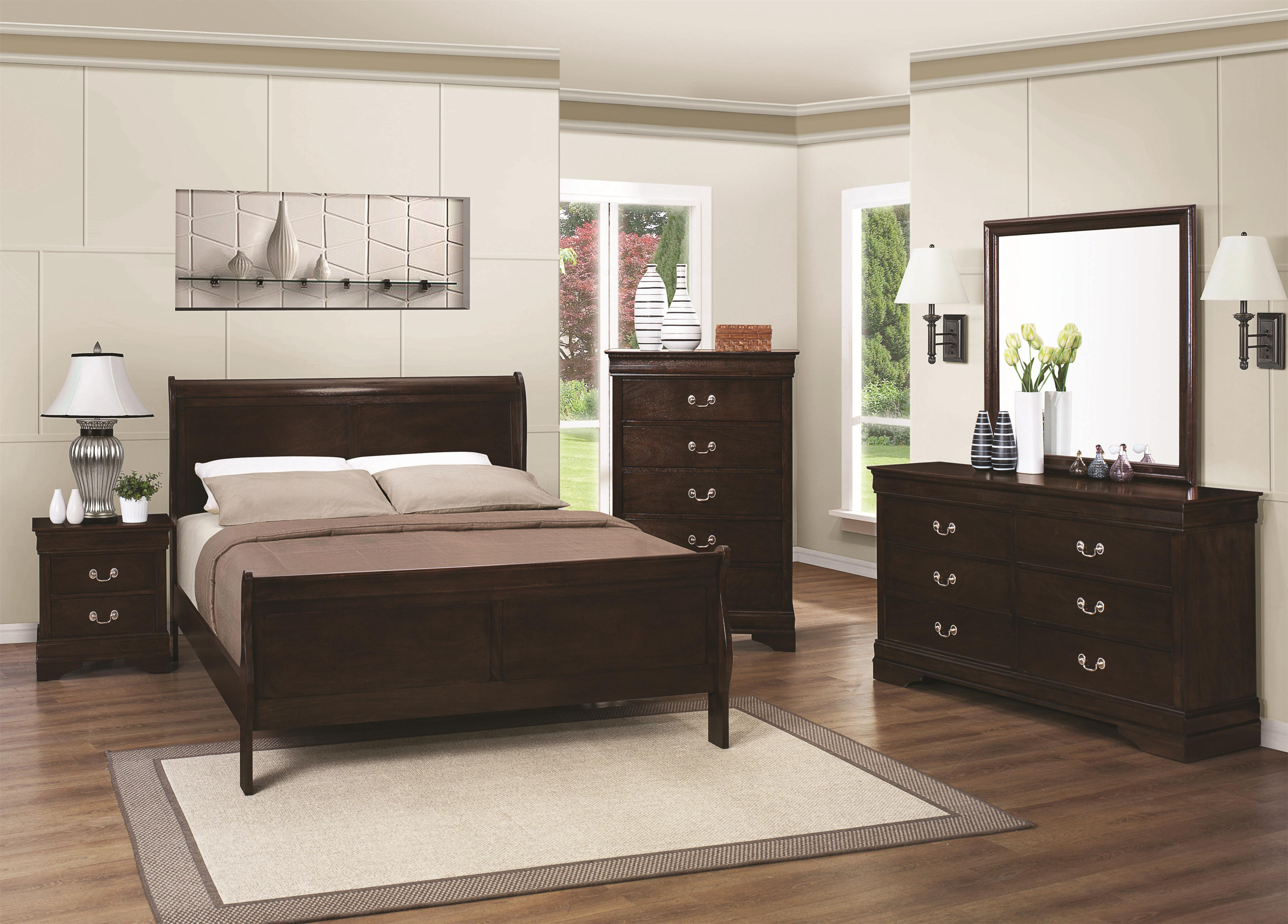 Picture of: Classic Louis Philippe Bedroom Furniture 4pc Set Eastern King Size Sleigh Bed Red Brown Finish Dresser Mirror Nightstand Hardwood Walmart Com Walmart Com