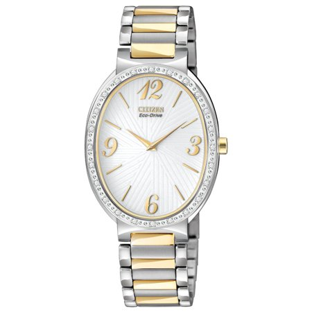 (Citizen EX1224-58A Women's Allura Eco Drive Diamond Accent Bezel Two Tone Bracelet Watch)