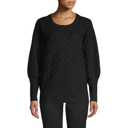 Waffle-Knit Crewneck Sweater Waffle Knit Sweater