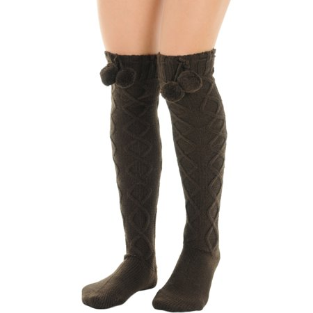 Womens Brown Over the Knee Socks Pom Poms Boot Socks Diamond twist pattern