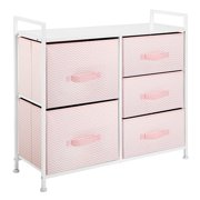 mDesign Storage Dresser Furniture Unit - Large Standing Organizer Chest for Bedroom, Office, Living Room, and Closet - 5 Drawer Removable Fabric Bins - Pink/White