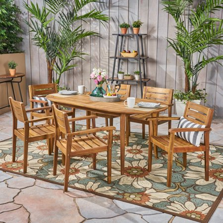 Christopher Knight Home Stamford Outdoor 7-Piece Acacia Wood Dining Set with Oval Table by  Teak