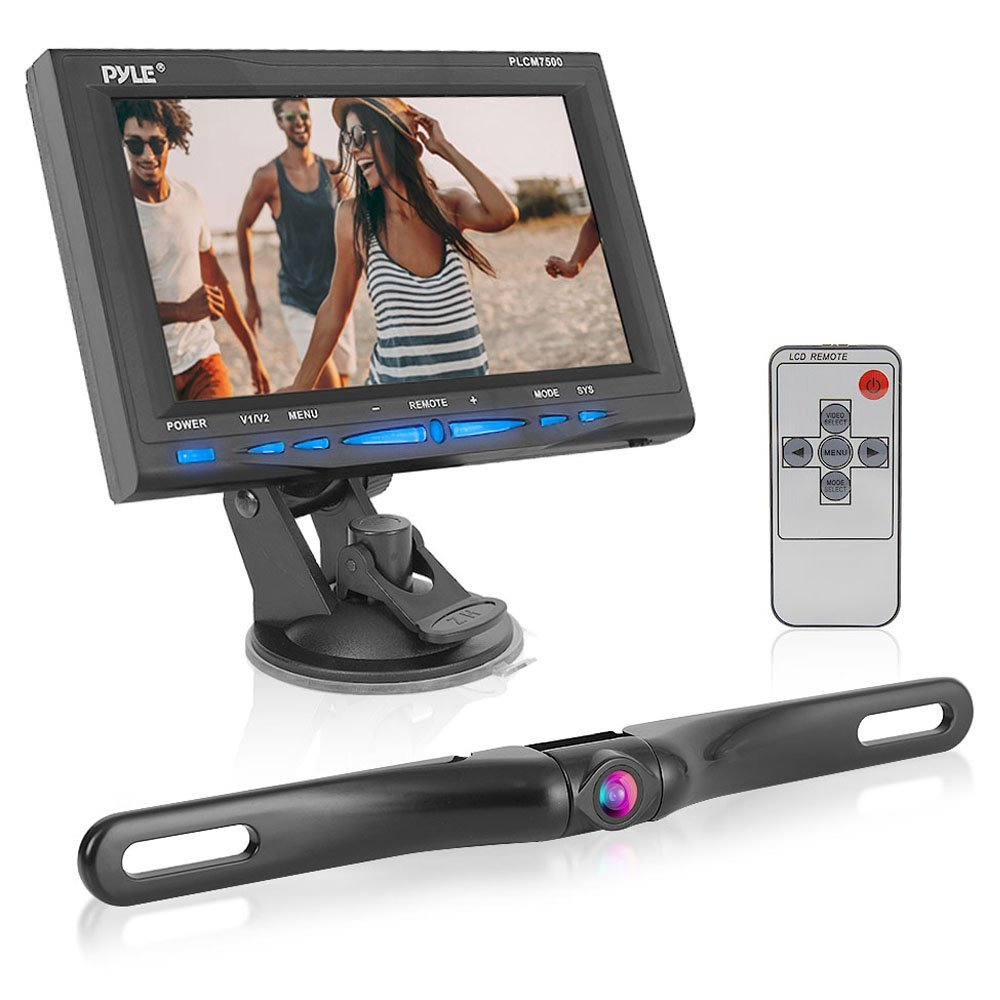 "Pyle PLCM7500 7"" Window Suction-mount LCD Widescreen Monitor & License Plate Mount Backup Color Camera With Distance-scale Line"