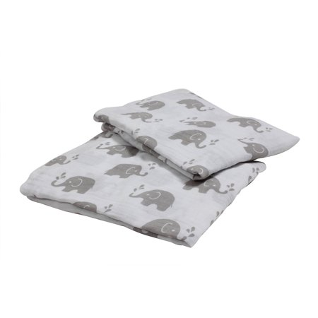 Bacati Elephants Crib Toddler Bed Fitted Sheets 100 Cotton Muslin 2 Pack Gray