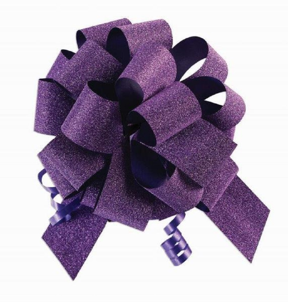 "10 Pack 8"" No Mess Diamond Glitter Pull Bows Pew Wedding Christmas Gift Wrap"